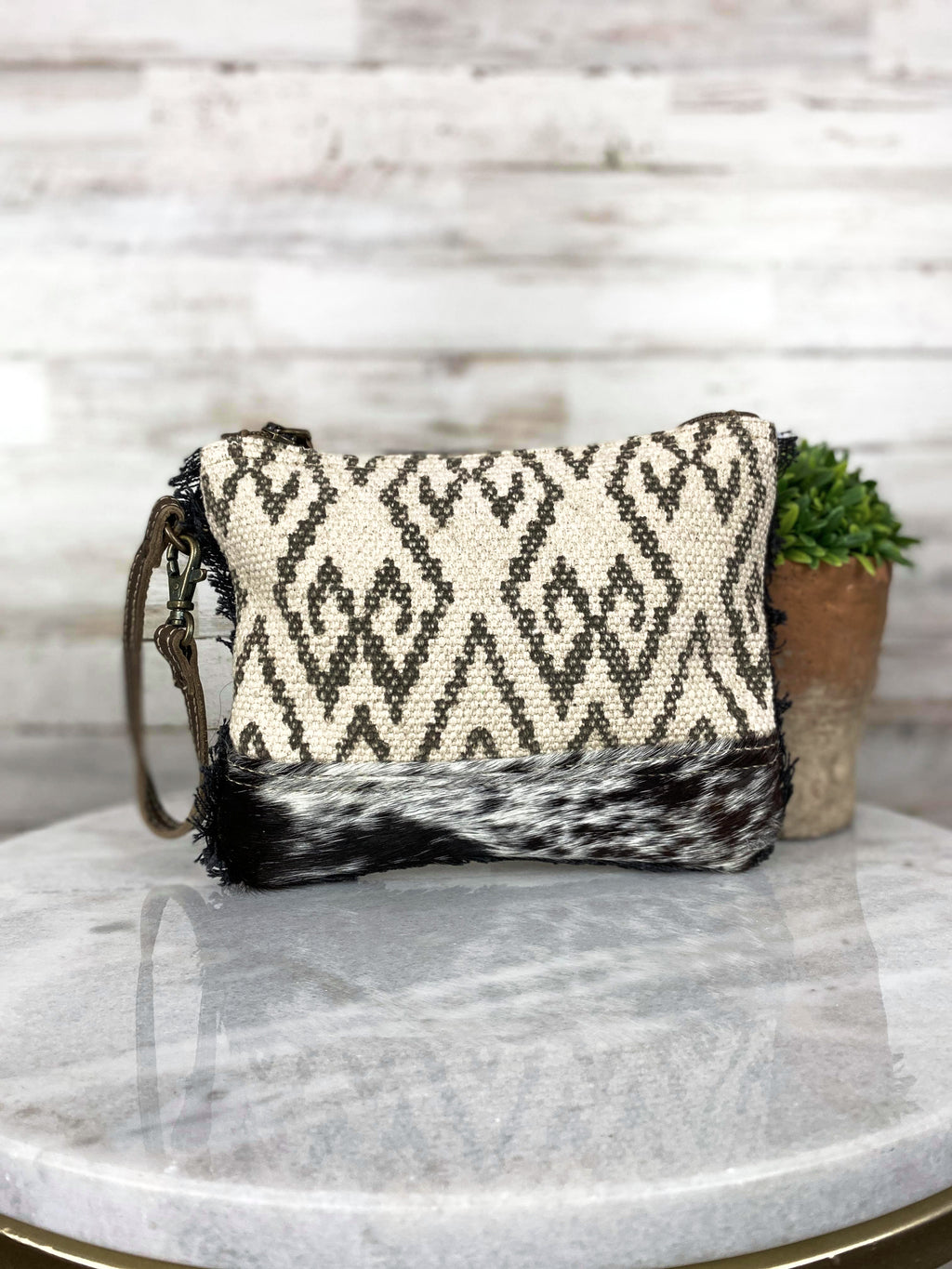 aztec canvas clutch bag with cowhide