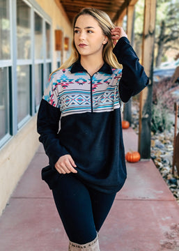 Black & Turquoise Aztec Zip Pullover Top