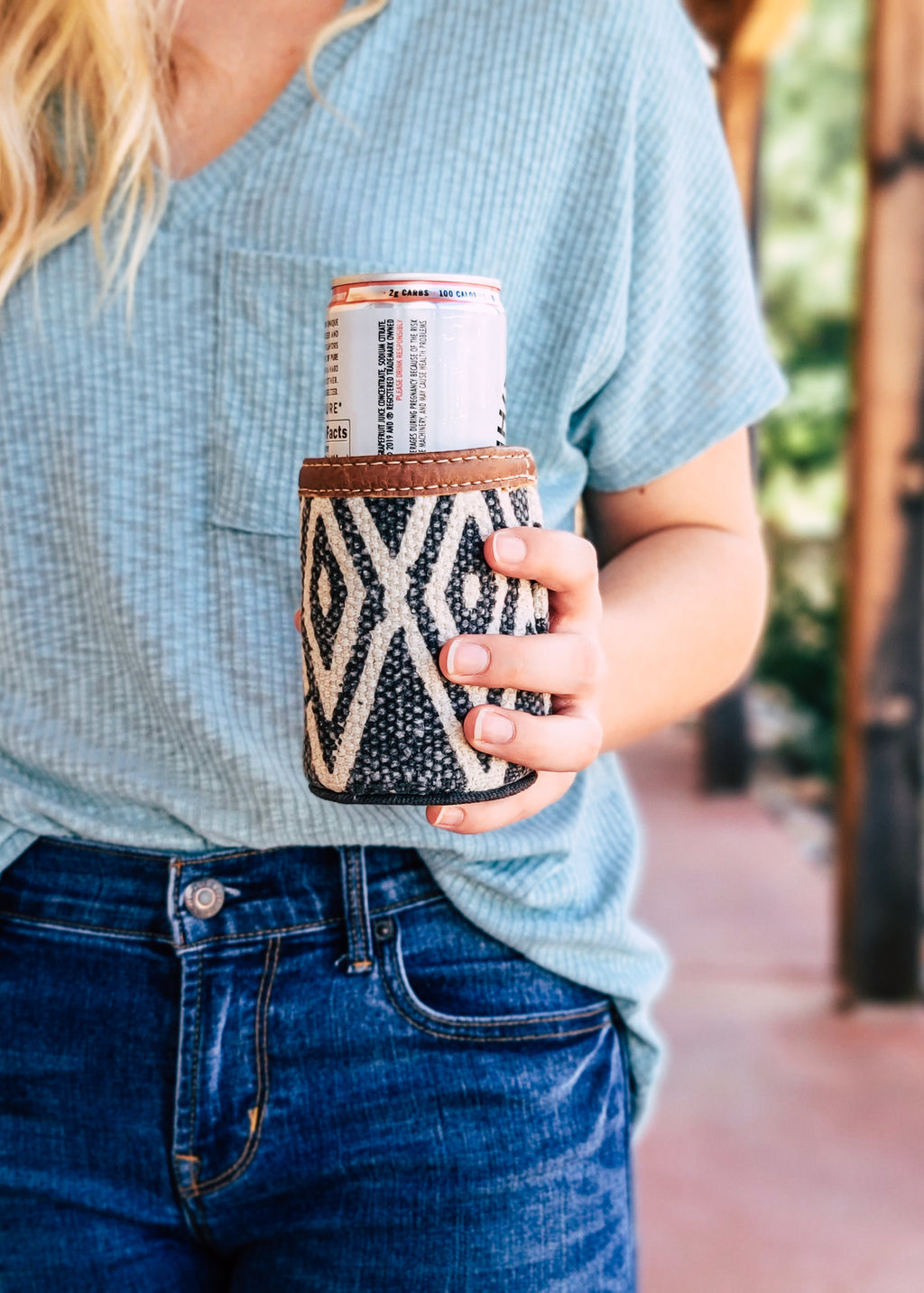 Aztec Canvas Can Cooler on model outside