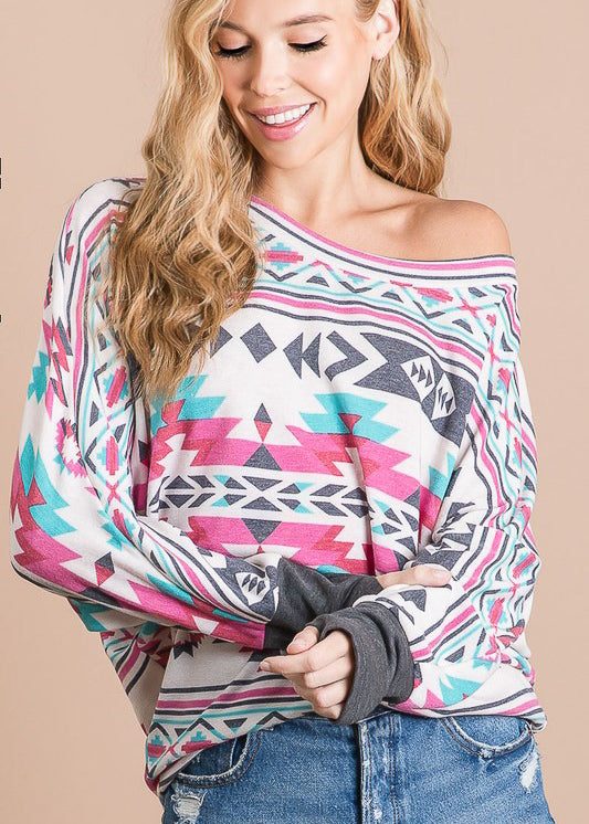 Multi Color Aztec & Charcoal Cuffed Long Sleeve Top