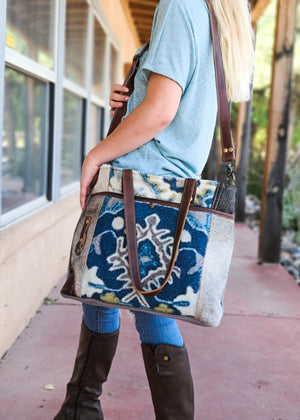 Baby Blues Cowhide Handbag with model