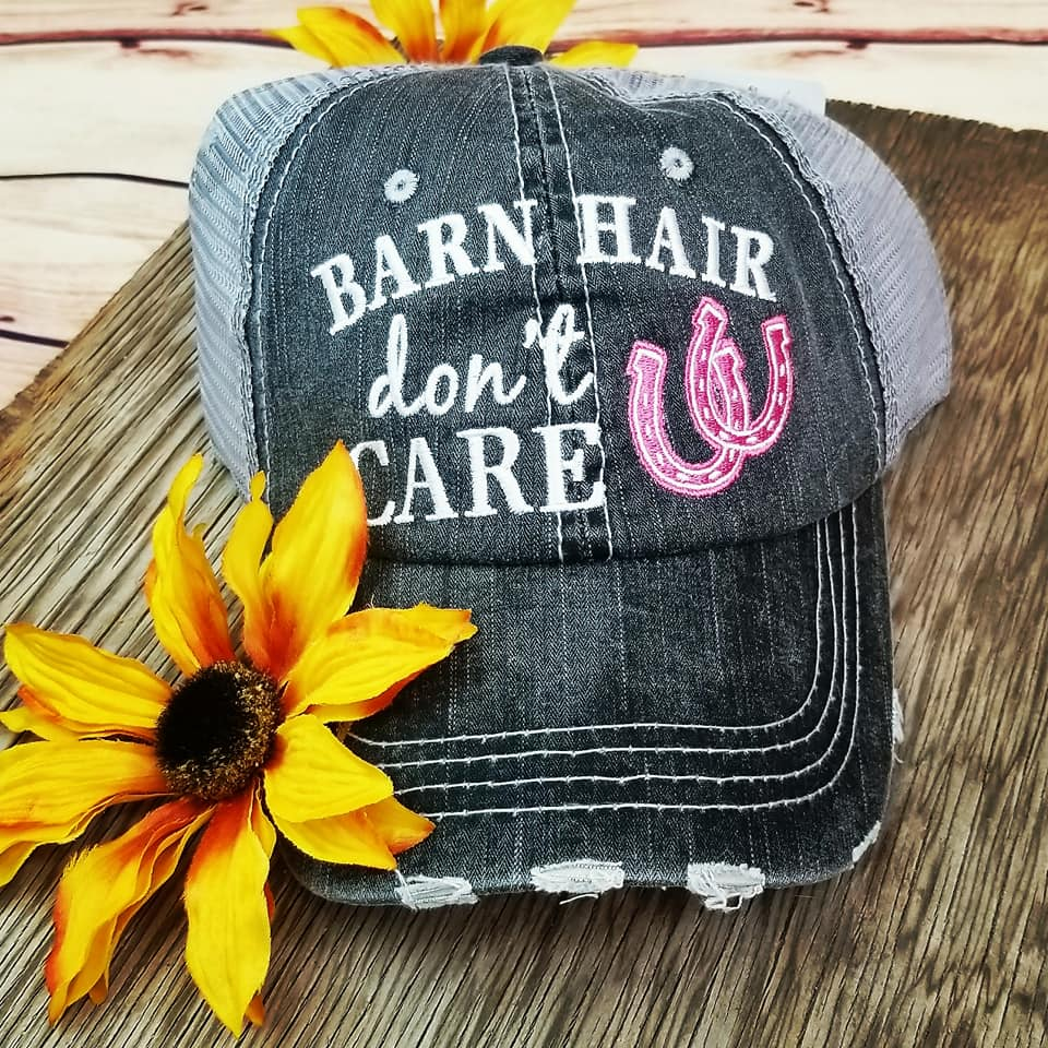Barn Hair Don't Care Pink Trucker Cap