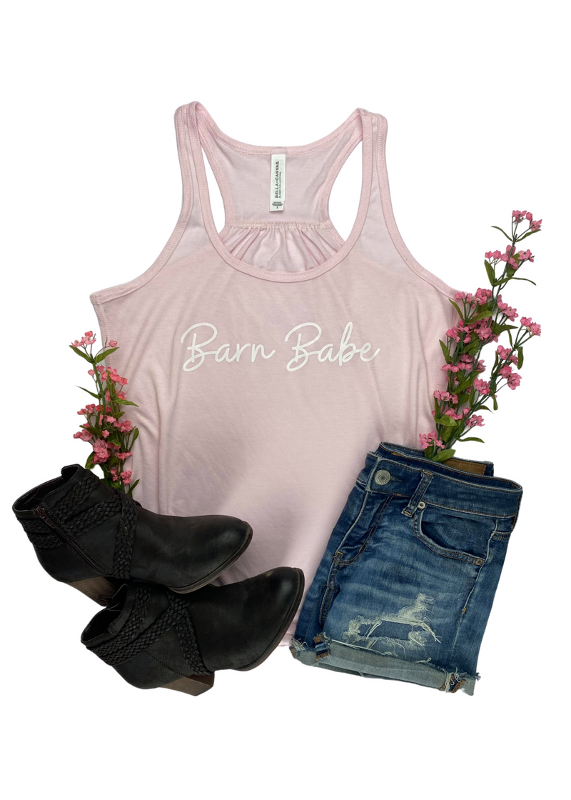 Light Pink Barn Babe Graphic Tank Top