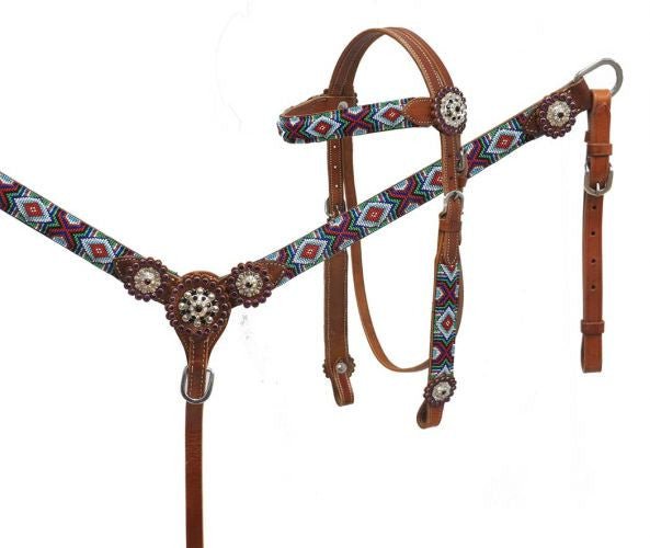 Multi Color Beaded Headstall Set