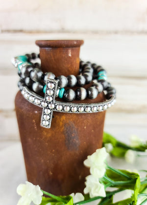 Silver Beaded Cross Cluster Bracelet