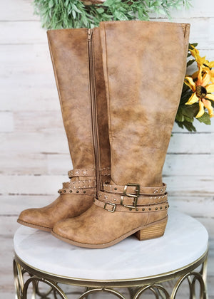 Beige Strappy Tall Boots