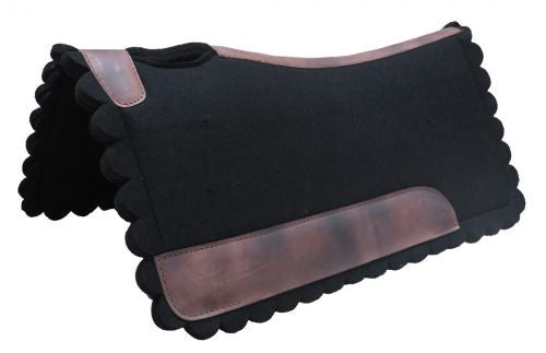 Black Felt Scalloped Saddle Pad