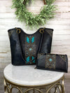 black and turquoise studded handbag and wallet