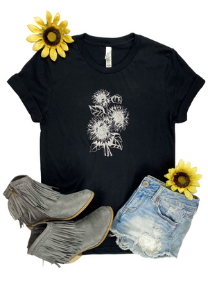 Black & Silver Sunflower Short Sleeve Graphic Tee