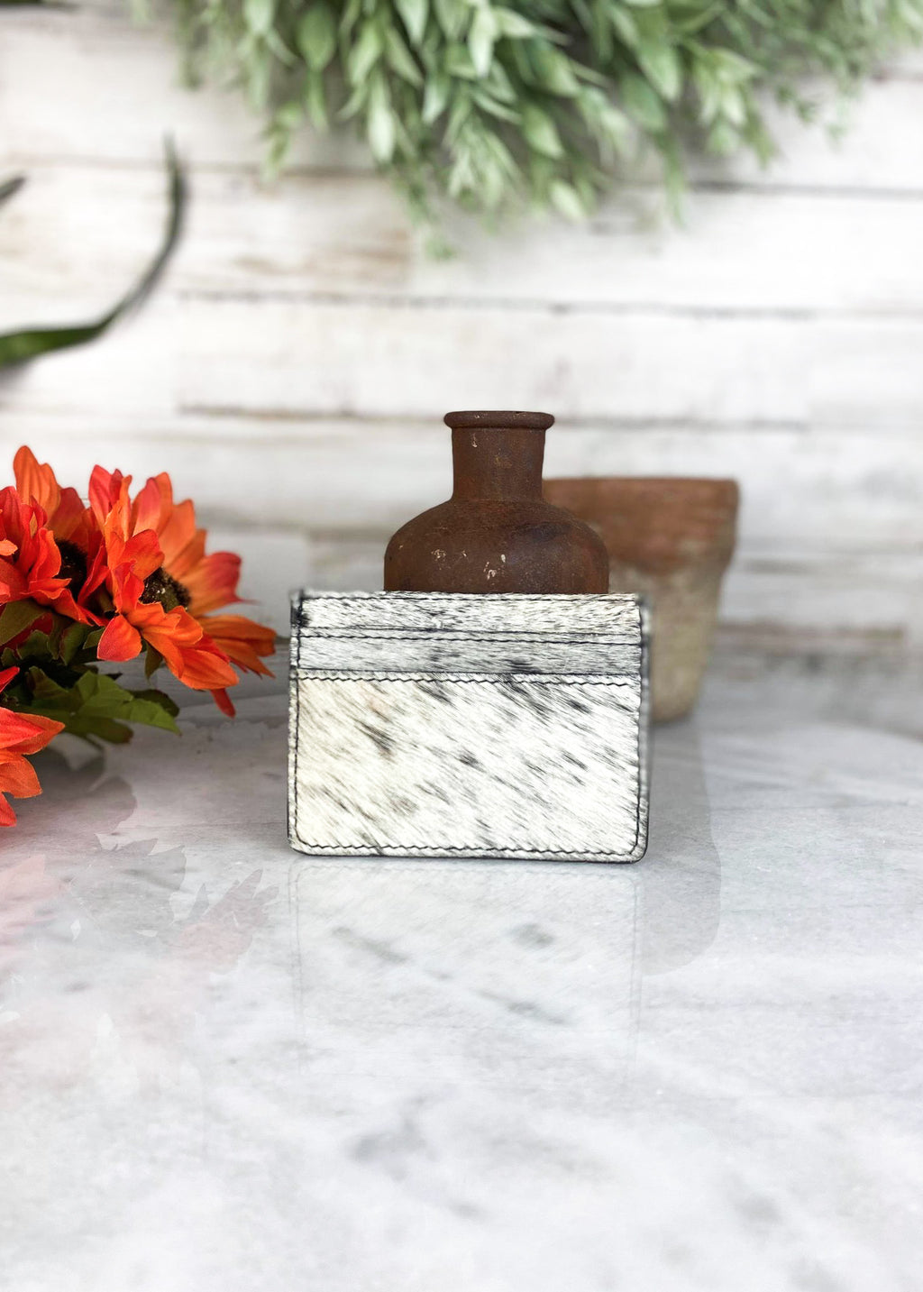 Black & White Cowhide Card Holder