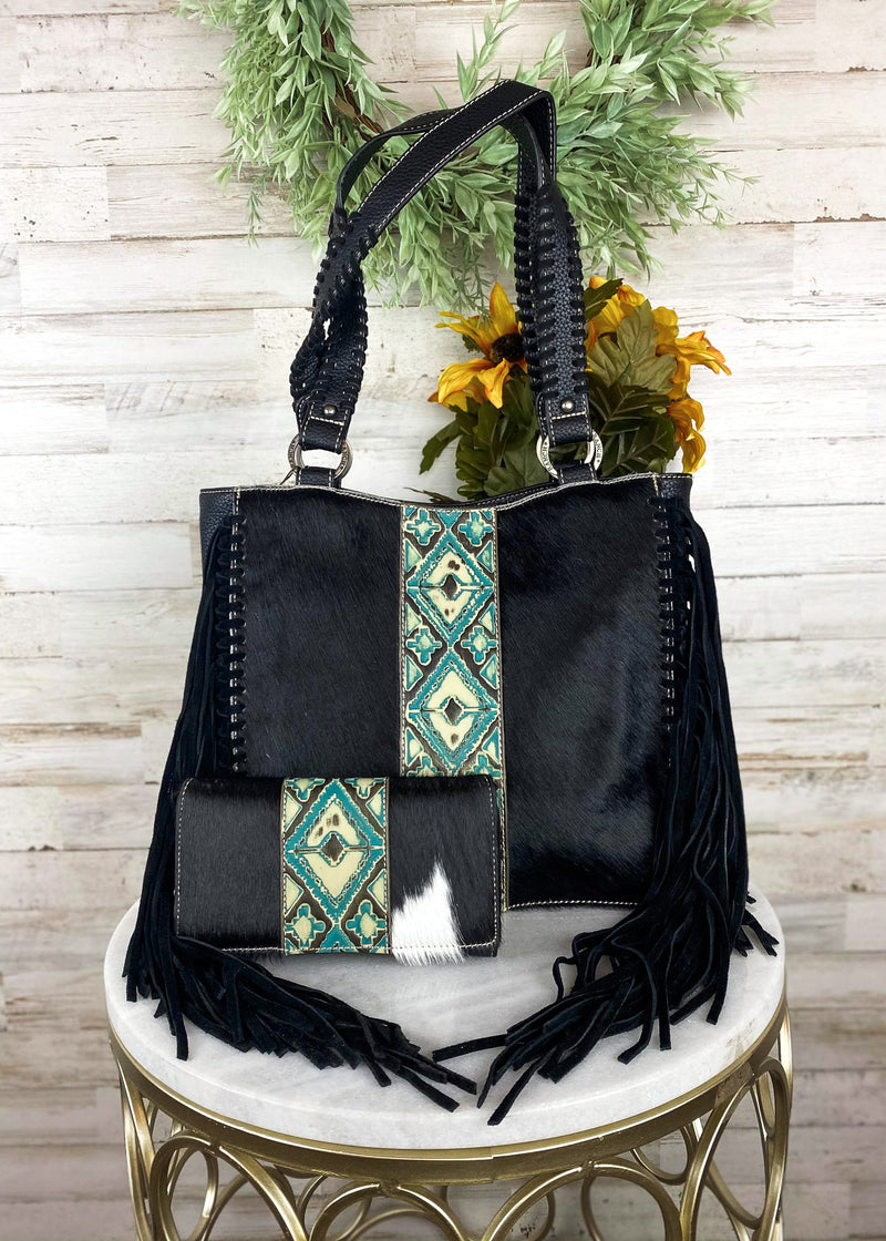 Concealed Carry Black Aztec Cowhide Handbag & Wallet, with model