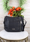 Concealed Carry Trinity Ranch Black & White Cowhide Fringe Hobo Handbag