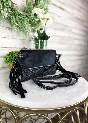 Black Cowhide Aztec Clutch Crossbody Handbag with bottom embossed aztec design