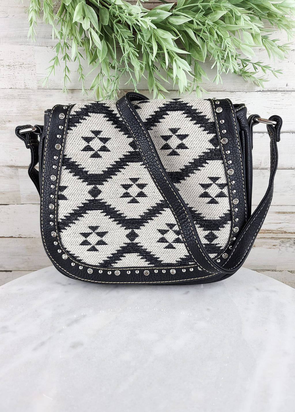Black Aztec Crossbody Handbag