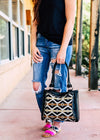 Black & Tan Aztec Handbag with model