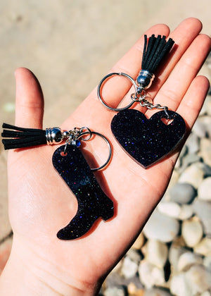 Holographic Black Heart & Boot (set of 2) Keychain