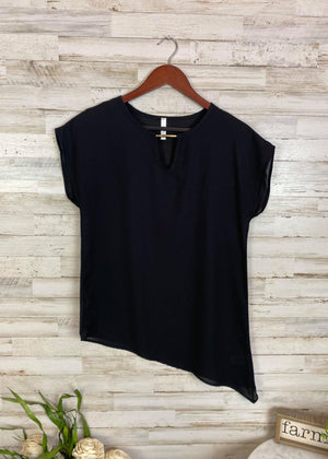 Black Diagonal Chiffon Short Sleeve Top