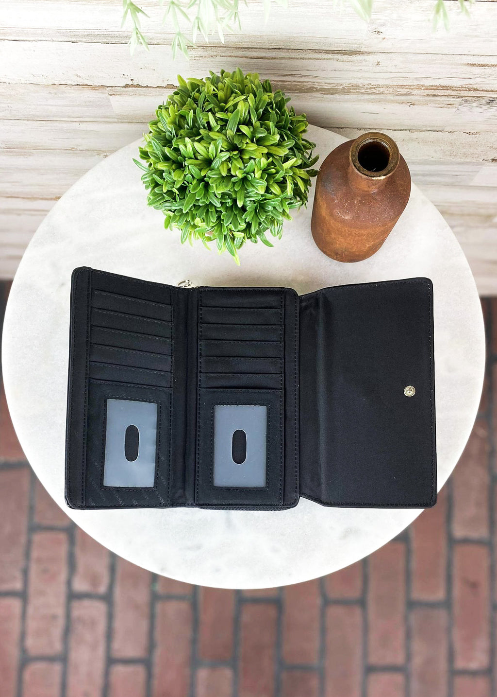 Black Concho Tassel Wallet, inside view, 2 ID pockets and several card slots