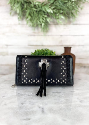 Concealed Carry Black Concho Handbag & Wallet, wallet only
