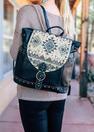 Black Studded Aztec Backpack