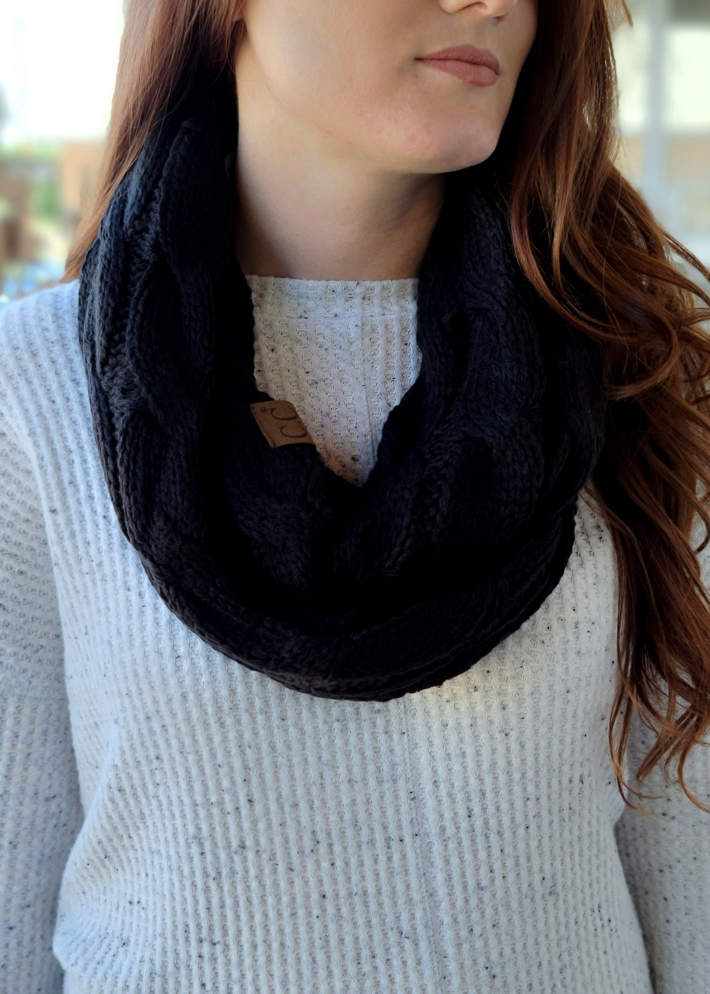 Black Cable Knit Infinity Scarf on model