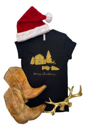 Black Merry Christmas Farm Short Sleeve Tee