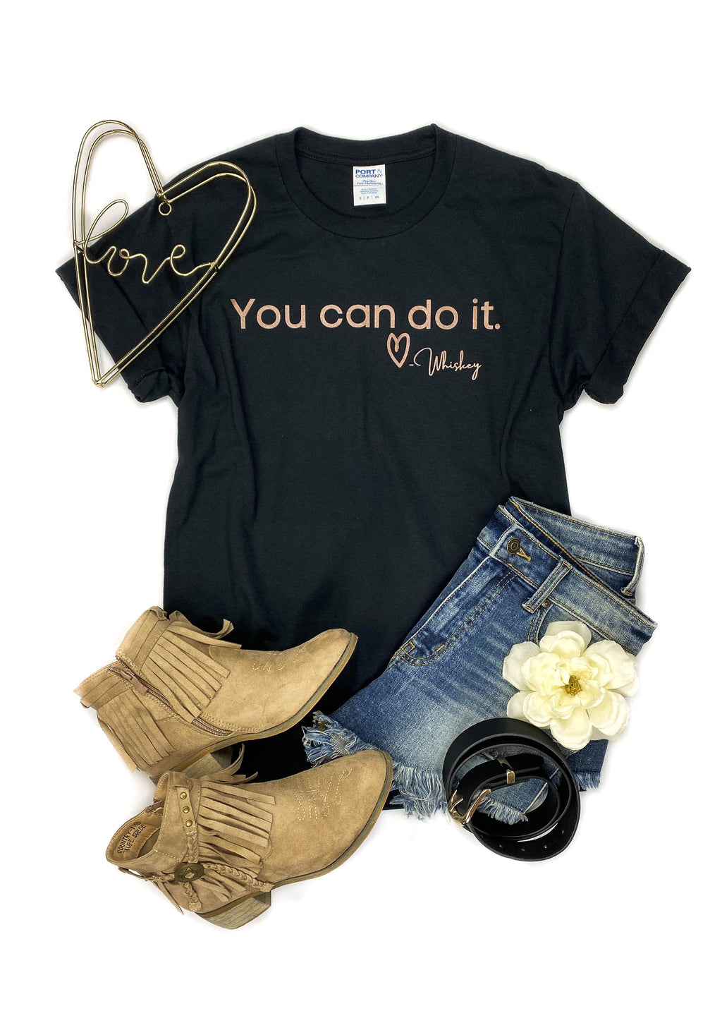 Black You Can Do It Love Whiskey Short Sleeve Tee