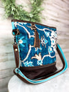 blue and brown floral myra crossbody handbag