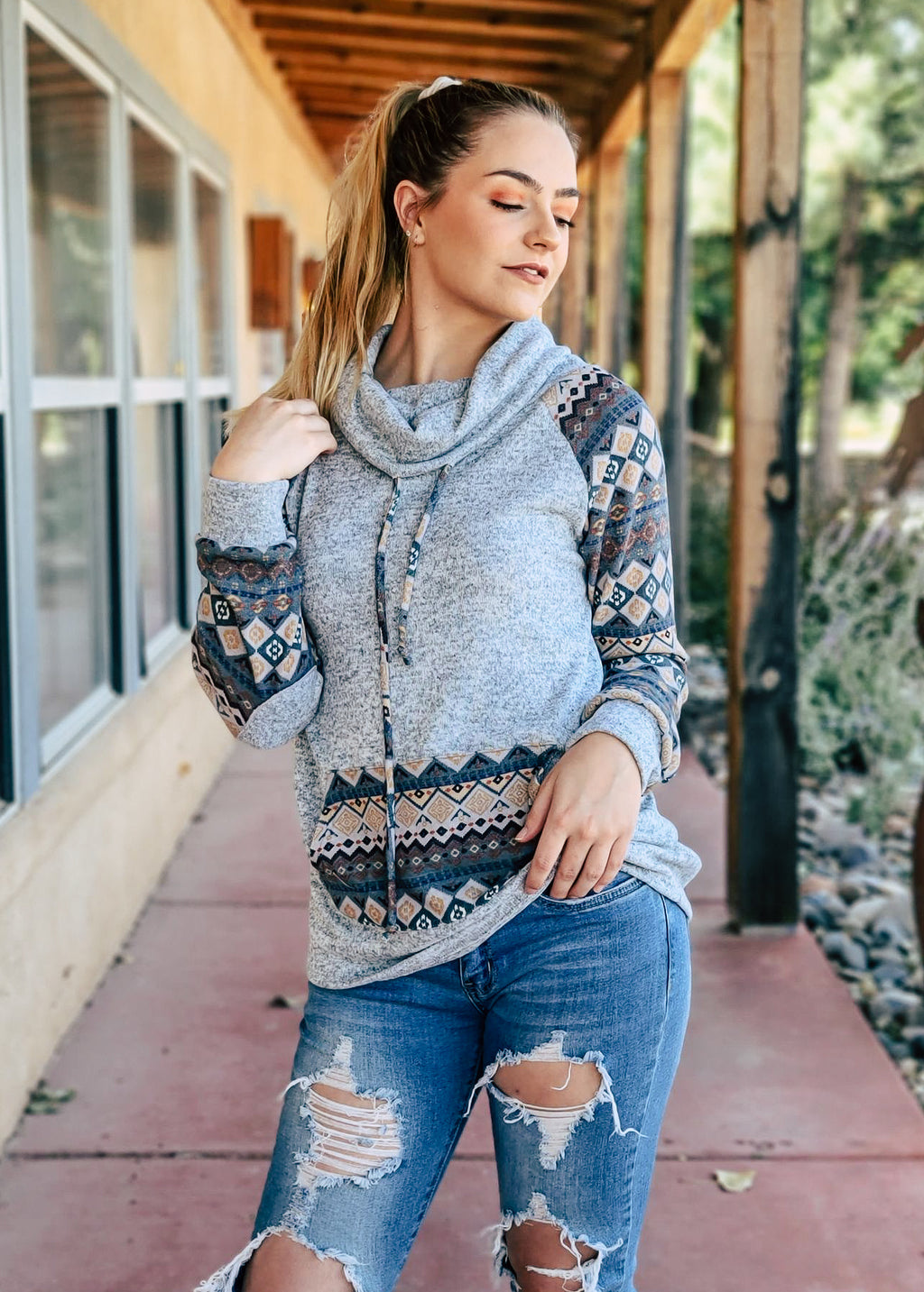 Blue Grey Aztec Cowl Neck Long Sleeve Top