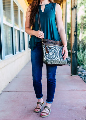 Blue & Ivory Zip Hobo Handbag on model
