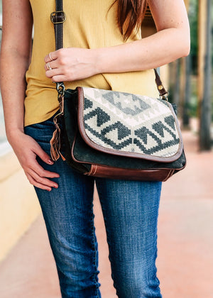 Brown Boho Crossbody on model