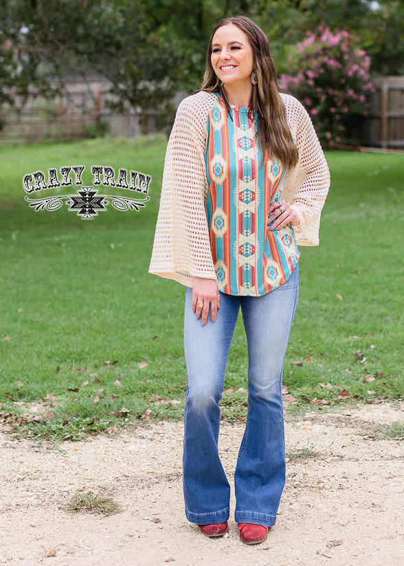 Aztec Bell Sleeve Top