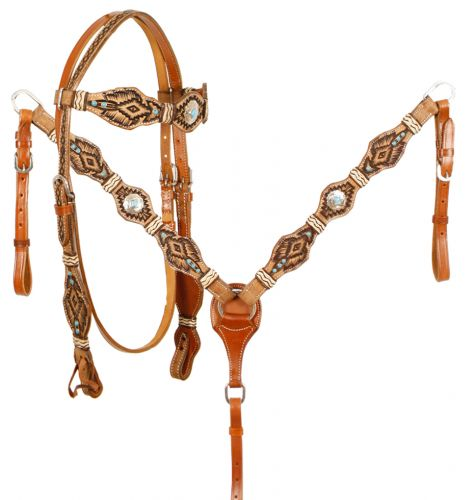 Braided Rawhide Aztec Headstall Set