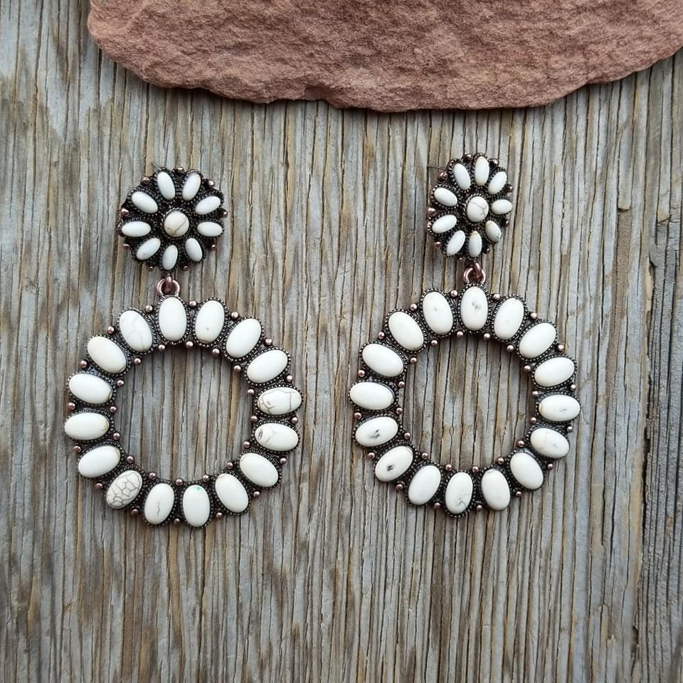 Bronze & Ivory Round Post Earrings
