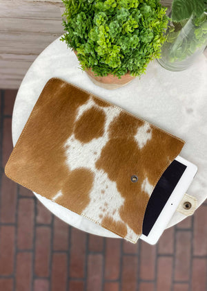 Brown & White Cowhide Tablet Sleeve with tablet shown
