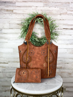 Concealed Carry Brown Swirl Handbag & Wallet