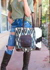 Brown & Blue Southwest Tote Handbag on model