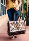 Brown & Multi Color Aztec Weekender with model