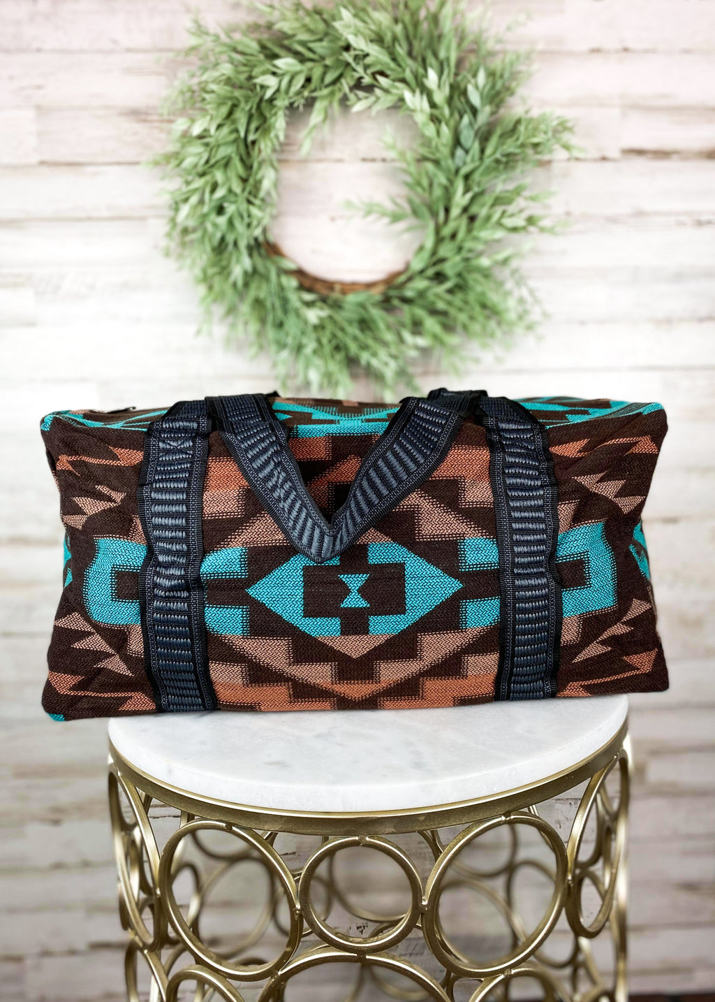 Brown & Turquoise Aztec Weekender Bag