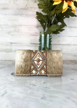 Brown & White Cowhide Aztec Wallet