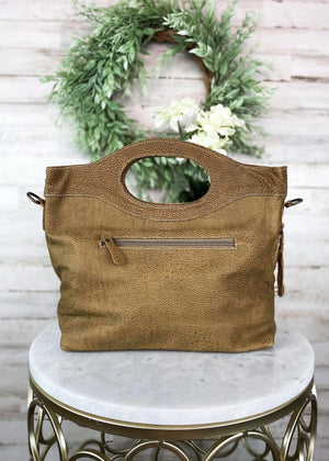 Brown & White Cowhide Tote Crossbody Handbag