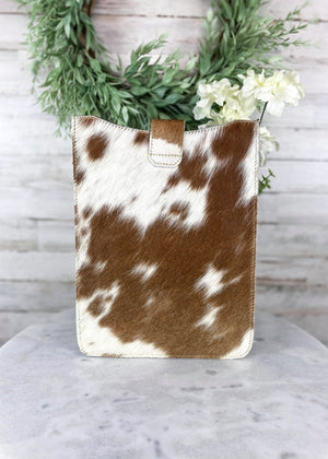 Brown & White Ombre Cowhide Tablet Sleeve