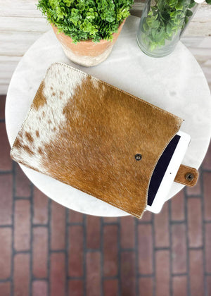 Brown & White Ombre Cowhide Tablet Sleeve with tablet tucked inside