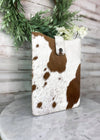 Brown & White Spot Solid Cowhide Tablet Sleeve