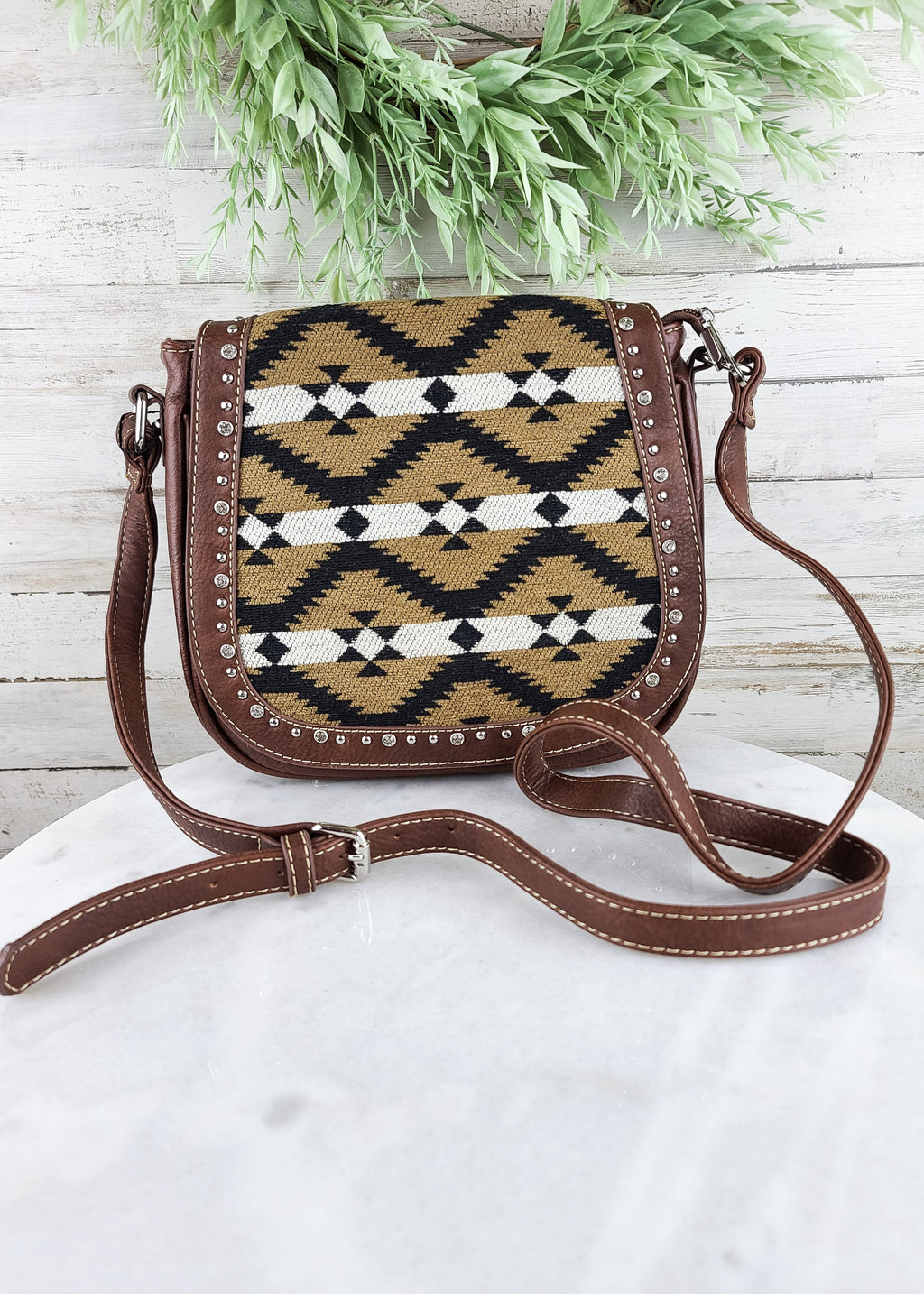 Brown Aztec Crossbody Handbag