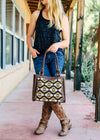 Brown Aztec Handbag on model