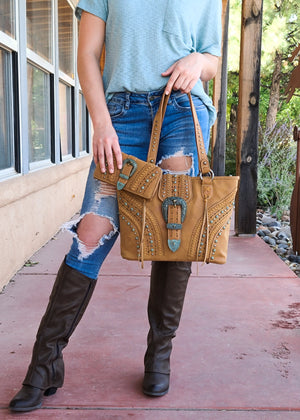 Concealed Carry Brown Patina Buckle Handbag & Wallet