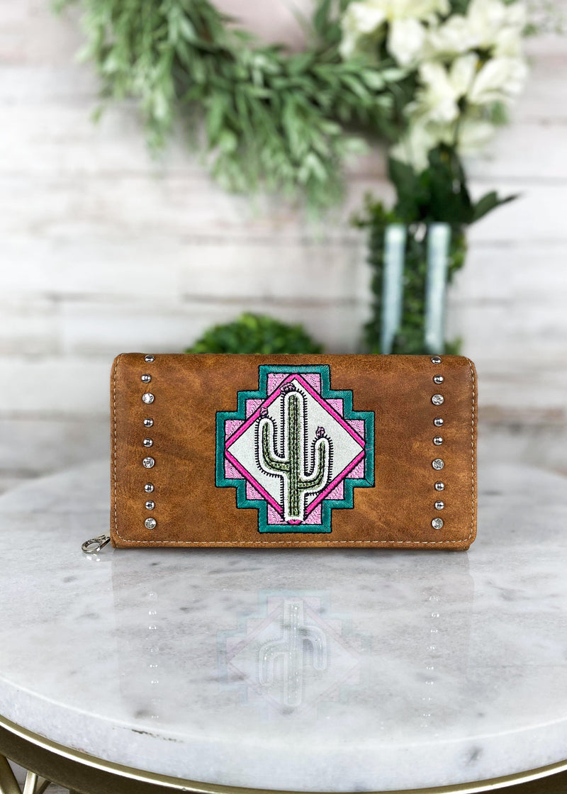 Brown Cactus Wallet, inside view, 2 ID holders and several card slots