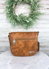 Brown Floral Crossbody Handbag