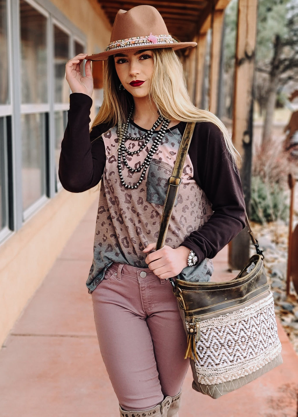 Ombre Leopard Long Sleeve Top  on model with accessories
